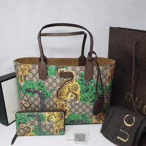 Brand New Gucci Bengal Supreme Tote & Wallet